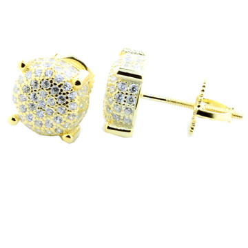 Mens Yellow Silver 8.5mm Bling Bling Micro Pave Earrings