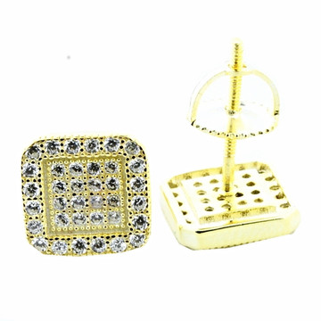 Mens Hip Hop Micro Pave 925 Yellow Silver Bling Earrings