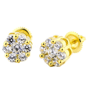 Iced Out Yellow Silver Round Cluster Earrings 8mm Wide Rose Set