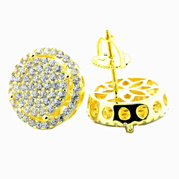Mens Iced Out Yellow Silver Large Round Cluster Earrings 13mm