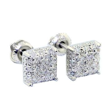 7mm Cube 1/4 cttw Sterling Silver Diamond Earrings Fashion Studs