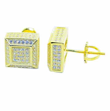 10.5MM Cubic Zirconia Stud Earrings Sterling Silver Gold Tone Cube