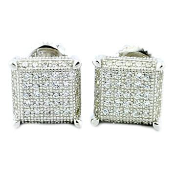 Mens Bling 925 Sterling Silver Cube Cz Earrings 9mm Wide