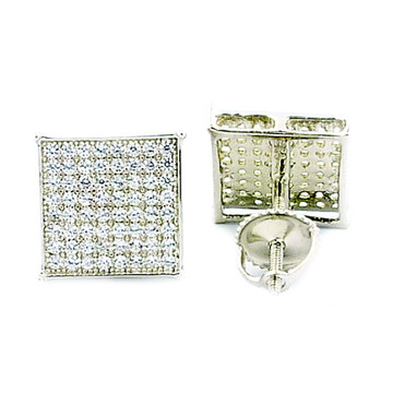 Mens Earrings 10mm Wide Sterling Silver 925 Micro Pave Set