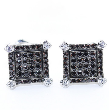 10.5MM Black Stone Lab Diamond Iced Bling Micro-Pave Earrings