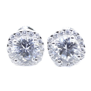 10MM Wide Stud 925 Sterling Silver Round Shaped Bling Earrings