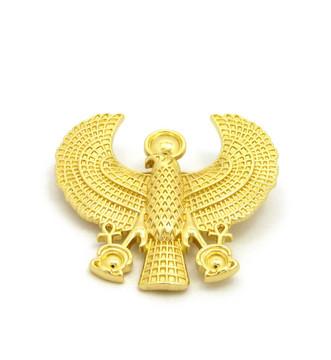 14k Gold Ancient Egyptian African Horus Bird Brooch Pin