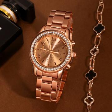 Rose Gold Simulated Diamond Bezel Stainless Steel Wrist Watch