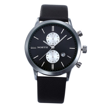 Black Silver Accented Sleek Street Casual Wrist Watch