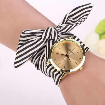 Women Stripe Floral Cloth Watch