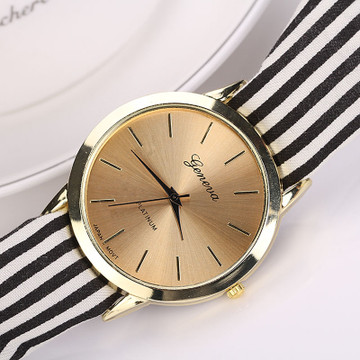 Fashion Women Stripe Floral Cloth Quartz Dial Bracelet Watch