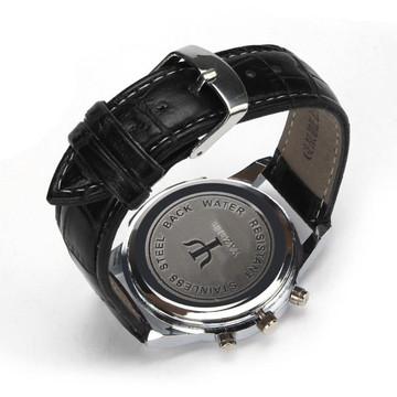 Luxury Fashion Leather Mens Blue Ray Glass Quartz Analog  Watch