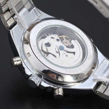 Russian Skeleton Automatic Mens Silver Stainless Steel Wrist Watch