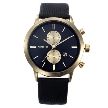 Black Gold Sleek Street Gold Accented Casual Wrist Watch