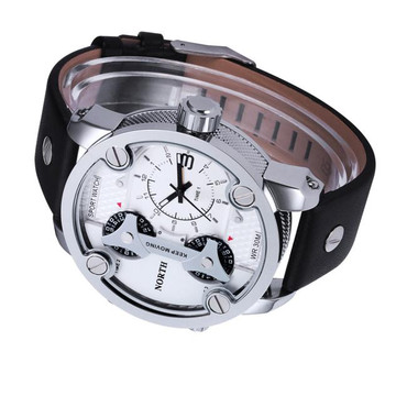Hip Hop Triple Zone High Fashion Leather Wrist Watch White