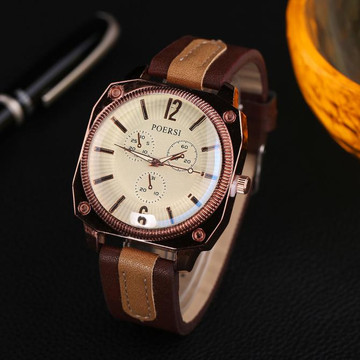 Mens Square Circle Classic Brown Dual Leather Watch