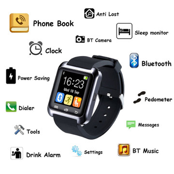 Smart Bluetooth Wrist Watch w/ Silicone Gel Band for iPhone