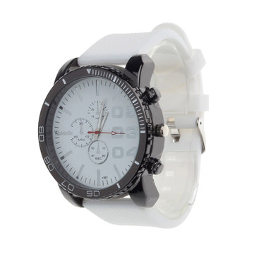 Classic Clean Hip Hop Fashion Gel Band Bling Watch White