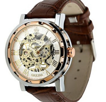 Mens Luxury Leather Stainless Skeleton Mechanical Watch