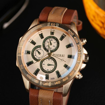 Luxury Men's Watches Analog Quartz Faux Leather Sport Wrist Dress Watch Coffee
