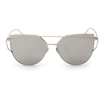 Fashion Twin-Beams Classic Women Metal Frame Mirror Cat Eye Sunglasses