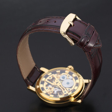 Classic Men's Brown Leather Dial Skeleton Mechanical Wrist Watch
