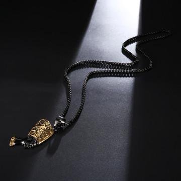 African Queen Nefertiti Pendant Black Titanium Stainless Steel Pendant Necklace