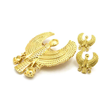 14k Gold Egyptian African Horus Bird Brooch Pin Earrings Set