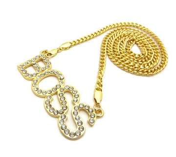 14k Gold Ladies Simulated Diamond Boss Iced Out Pendant