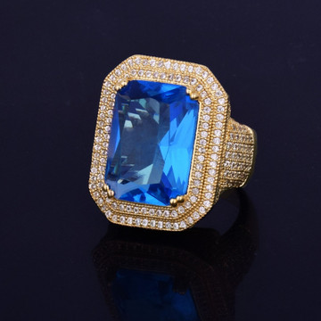 Aqua Blue Onyx Simulated Diamond Stone Pinky Ring