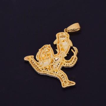 14k Gold Monopoly Money Bags Cuban Link Hip Hop Pendant