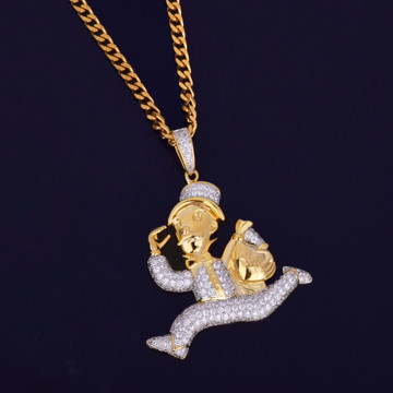 14k Gold Monopoly Money Bags Cuban Link Hip Hop Pendant