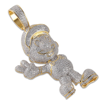 14k Gold Mario Inspired Hip Hop Cuban Link Chain Pendant