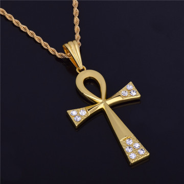14k Gold Handset Simulated Diamond Ankh Cross