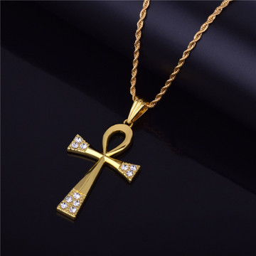14k Gold Handset Simulated Diamond Ankh Cross Micro Pendant