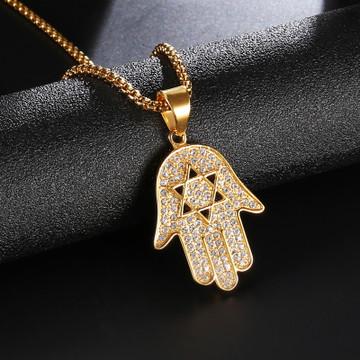 14k Gold Hamsa Hand of Fatima Simulated Diamond Star Of David Chain Pendant