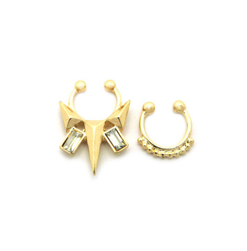 Arrow Baguette Iced Out Double Nose Ring