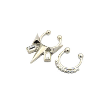 Arrow Baguette Iced Out Double Nose Ring 3