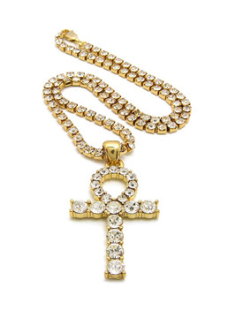 African Egyptian Iced Out Gold Ankh Cross Prong Set Diamond Cz Necklace