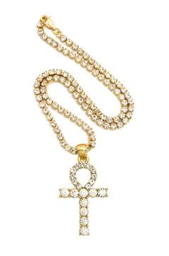 Gold Ankh Cross Prong Set Diamond Cz Necklace