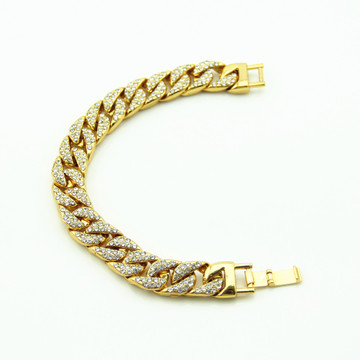 Hip Hop Bling Iced Out Full AAA Simulated Diamond Men's Miami Cuban Link Bracelet