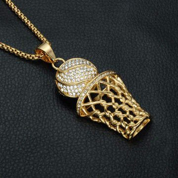Iced Out Gold Full Simulated Diamond  316L Stainless Steel Basketball Chain Pendant