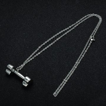 Ladies Titanium Stainless Steel Heart Dumbbell Pendant Necklace