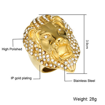Hip Hop Micro Pave Simulated Diamond Iced Out Lion Head Mens Gold Filled Titanium Stainless Steel Ring