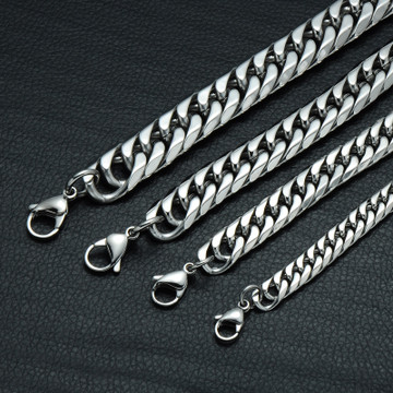 Hop Hop Rock Chain Link Double Layer Cuban Link Stainless Steel Bracelets