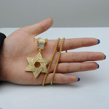 Hip Hop Micro Pave Simulated Diamond Stainless Steel Iced Out Magen Star of David Chain Pendant