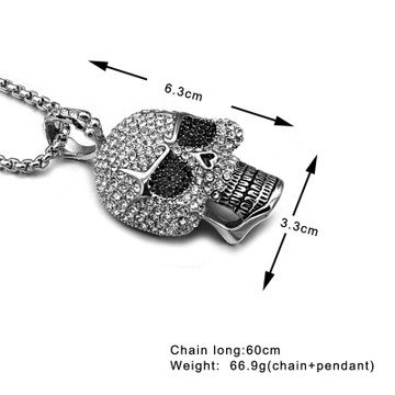 Hip Hop Titanium Stainless Steel Ice Out Full Micro Pave Lab Diamond Skeleton Skull Chain Pendant