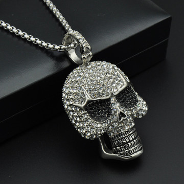 Micro Pave Lab Diamond Skeleton Skull Chain Pendant