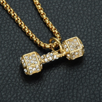 Iced Out Barbell Dumbbell Stainless Steel Titanium Chain Pendant