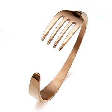 Hip Hop Men's We Eatin Stainless Steel Fork Bracelet